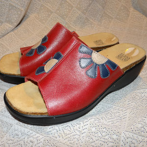 Shoes - Elena Solano Red Leather Sandals Size 40/9 (B5)